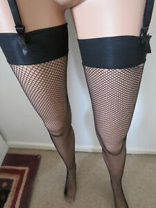 Black Fishnet Stockings with 10% Spandex by Scarlet - Black/One Size - Freepost