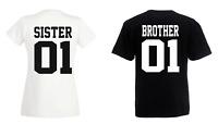 Brother 01 & Sister 01 - T Shirt Geschwister Beste Freunde Bruder - DOPPELPACK -