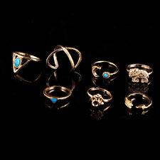 Trendy Silver/Gold Boho Stack Plain Above Knuckle Ring Midi Finger Tip Rings Set