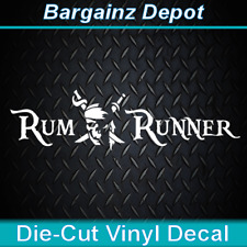 Vinyl Decal.. RUM RUNNER .. Pirate Life Skull Boat Car Laptop Sticker Decal