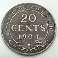 1904 H Canada Newfoundland Twenty 20 Cents Silver Circulated Canadian Coin D162