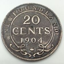 1904 H Canada Newfoundland Twenty 20 Cents Silver Circulated Canadian Coin D162