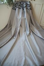 TAUPE GREY & BLACK LEAVES EYELET CURTAINS,55WX90D,FAUX SILK,LINED,FULL LENGTH