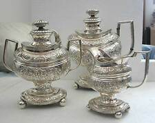A FINE HAND ENGRAVED WITH FLOWERS&LEAVES THREE-PIECE FEDERAL SILVER TEA SERVICE