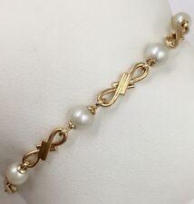 "14K Yellow Gold 5.0mm Cultured Pearl 6.75"" Bracelet 6.0 Grams"