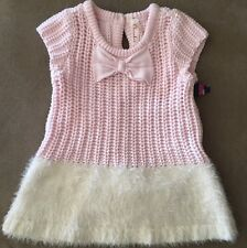 NWT *Cherokee Girls Sweater Dress & Bloomers Size 3-6 Months Pink & White W/ Bow