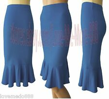 Celebrity Paty Wear to Work Mermaid Stretch Knee Length Skirt Dress Blue LARGE#2