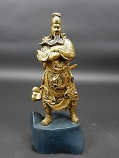 Large Chinese Intricately Carved Gilt wood Guan Gong Statue  11 inches!