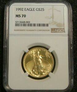 1992 $25 American Gold Eagle 1/2 oz Quarter Ounce NGC MS70 GORGEOUS GOLD COIN!!