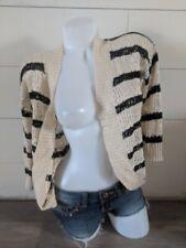 Pink Rose Black Striped Knit Crochet Sweater Cardigan M