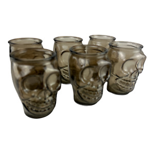 Set of 6 Skull Drinking Tumblers Cocktail Glasses Brown - Halloween Party