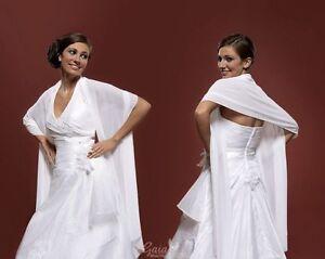 Stola Brautschal  Brautstola Chiffon Hochzeit Braut  in weiss+ ivory creme