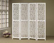 Brand New 4-panels double side-Wood Screen wish Swirl Pattern- White - Asdi