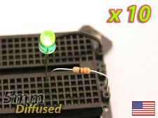 [10x] Green 5mm LED Diffused Lens - Mod your Car, or PC