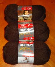 Bernat Softee Chunky Yarn Lot Of 3 Skeins (Dark Taupe #28013)
