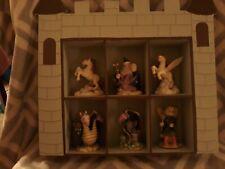 Wooden Castle shelf, 6 compartments hold fantasy figures Dragon, wizard, unicorn