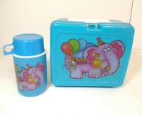 Plastic Lunch Box with Thermos Bottle Blue W/ Pink Circus Elephant