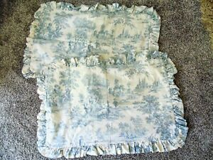 Vtg Romantic French Scene Blue Toile Standard Queen Ruffled Cotton Shams Set 2
