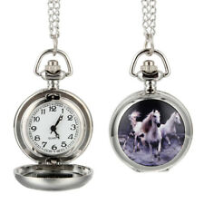 Fashion Quartz Pocket Watch Alloy Running Horses Lady Sweater Chain Necklace