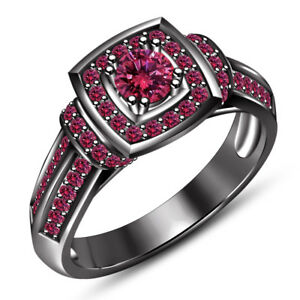 14K Black Gold Finish 1.30 Ct Pink Sapphire Engagement And Wedding Bridal Ring