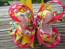 Hair Bow a Large Boutique style Emoji's with those yellow smiling hair bow USA