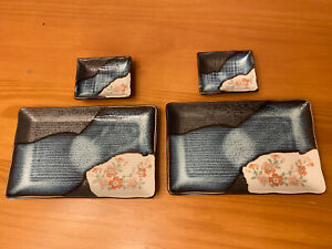 SUSHI PLATE SET blue ceramic with pink Cherry Blossoms