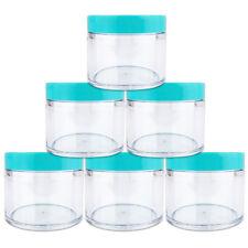 2oz/60g/60ml (6pcs) High Quality Acrylic Leak Proof Container Jars w/Teal Lids