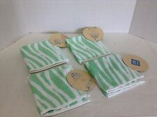 4 Pottery Barn Teen Zebra Stripe Bath Shower Bathroom Washcloths Green Stripe