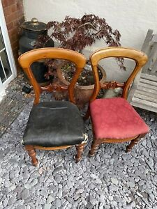 2 Antique Victorian Balloon back  Dining chairs Bedroom by j.b.c.w. (circa 1890)