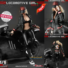 1/6 Sca FG051 Locomotive Girl Women Black Leather Clothing Pattern Sets Body 12""