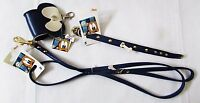 Discontinued Disney Pluto Blue Leather Dog Bag Holder Collar Leash S Lot of 3