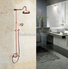 Antique Red Copper Rain Bathroom Shower Set Mixer Tap Faucet Hand Shower lrg617