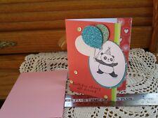 BIRTHDAY CHEERS ~ HANDMADE GREETING CARD #emc032 PANDA