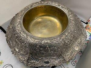 Antique Sheffield Silver on Copper Plate Repousse Flower Frog Bowl Centerpiece