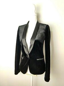 Women's Small James Jeans Black Velvet Tuxedo Jacket