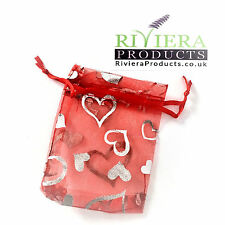 Hearts Red/Silver Organza Bags 7x9CM x20 Bags