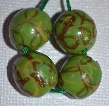 Light Green Antique Venetian Lampwork Beads Gold & Yellow Stripes, African Trade