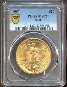 1907 $20 Saint Gaudens Gold Double Eagle MS 62 PCGS, Nice Color & Luster!