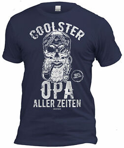 Fun T-Shirt + Urkunde Geschenk Set Opa Vatertag Geburtstag Weihnachten navyblau