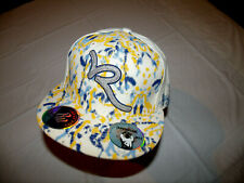 Rocawear White Hat Yellow & Blue Paint Splatter Fitted 7 3/4 20% Wool