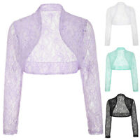 Women's Ladies Long Lace Sleeve Cropped Evening Shrug Bolero Top Cardigan Jacket