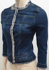 LIU JO Blue Cotton Stretch Diamante Crystal Fray Trim Denim Blazer Jacket 40 UK8