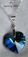 SWAROVSKI Crystal Heart Bermuda Blue Necklace Sterling Silver Wedding Love Gift