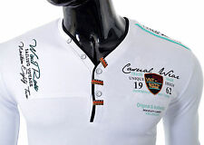Mens Long Sleeve Top Jacht Club Buttons EMBRIODED Inscriptions Clubbing Jumper White XXL