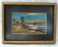 Framed Miniature Landscape Oil Painting of River Pines House POSTCARD 1920's yy
