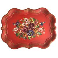 Vintage Red Tole Tray Chippendale Hand Painted Toleware Very Rare Signed  Artist