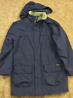 WOOLRICH Navy Blue Men vintage Coat Fleece Lined M warm parka hood *