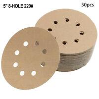 5-Inch 8-Hole 220-Grit Dustless Hook and Loop Sanding Discs, 50-Pack