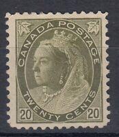 "Canada MINT OG Scott #84  20 cent  olive green  ""QV Numeral""  F"
