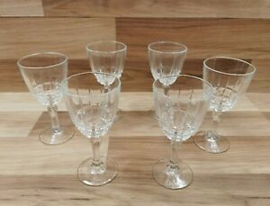 6 x Vintage French Luminarc Crystal White / Red / Claret Wine Glasses
